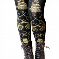 Pirate Narwhal Tights Medium Tall Gold on Black Nautical Steampunk