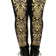 Art Nouveau Tights Medium Tall Gold on Black Mucha Street Style Festive Party