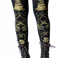 Printed Narwhal Tights Large Gold on Black Steampunk Lolita