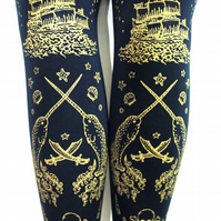 Gold on Navy Pirate Tattoo Narwhal Print Tights Small Medium