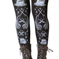 Narwhal Print Tights Small Medium Silver on Black Pirate Tattoo