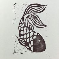 Linoprint Fish Card
