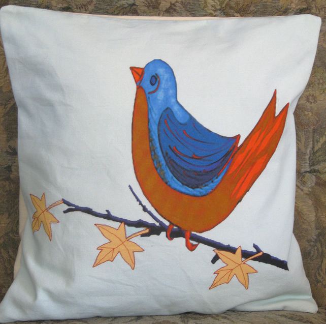 Cushion Cover - Red and Blue Bird - Cotton Canvas