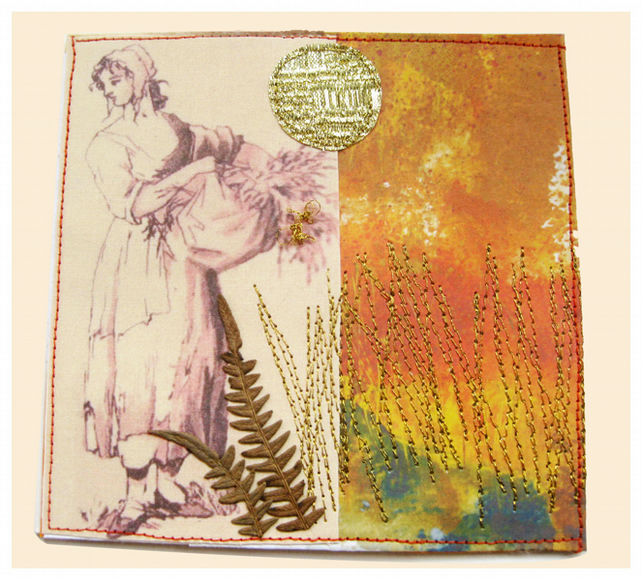 Art Card -Harvest Time - Paper - Fabric- Stitching - Pressed ferns -OOaK