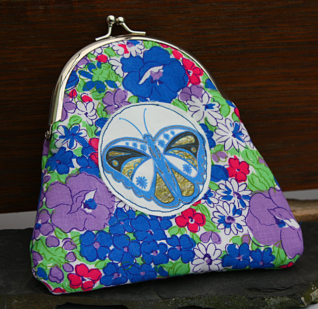 Large Purse  - Butterfly Appliqué - Floral
