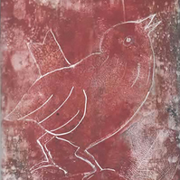 Little Red Bird - Blank Card - Mono-Print, Gelatin Print