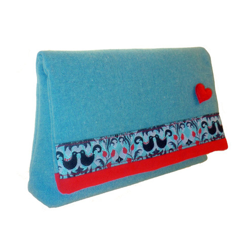 Kissing Birds Clutch Bag in blue and red