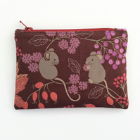 Woodland mouse zipped pouch purse
