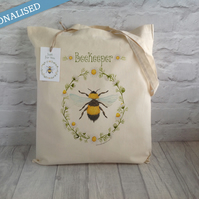 Personalised Bumble Bee Cotton Tote Bag