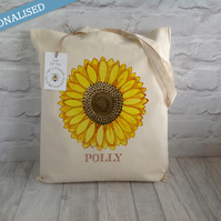 Personalised Sunflower Cotton Tote Bag