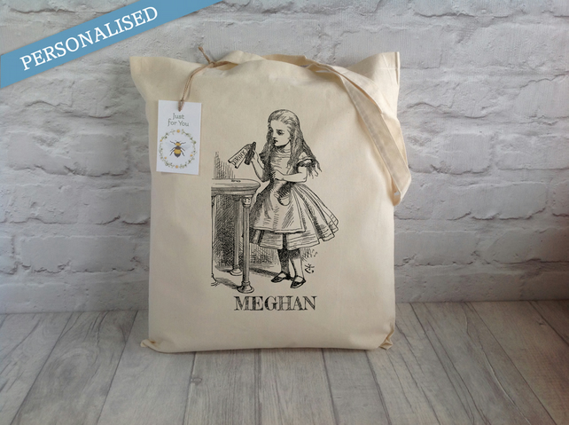 Personalised Alice In Wonderland Drink Me Tote Bag