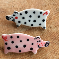 Spotty Pig Porcelain Badge.Ceramic brooch.Pig.Handmade in Wales,Uk