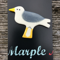 Seagull Porcelain Badge.Seaside Ceramic Badge.Bird Brooch.Handmade In Wales .