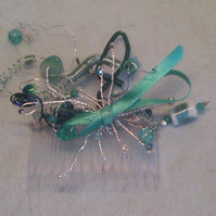 Turquoise and teal fascinator comb.
