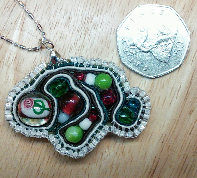 Hand sewn soutaches ramble pendant