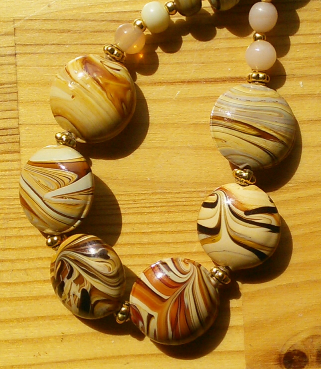 Swirly wooden look necklace