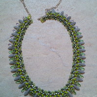 Tasteful green and grey necklace
