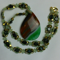 Green and tan agate necklace.