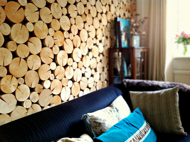 Log Wall Features and Log Wall Art made easy!  Natural Log Disc Tiles for walls
