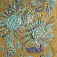 Original canvas painting,Jade Sunflowers,Mixed Media extured painting