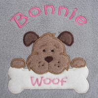 Personalised Dog Puppy Blanket - Embroidered Soft Cosy Fleece - Dog with Bone