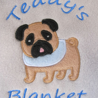 Personalised Dog Puppy Blanket Embroidered Soft Cosy Fleece - Pug