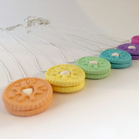 Mini Jammy Dodger Necklace in Pastel Colours - Bridesmaid Jewellery - Wedding