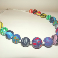Beaded Rainbow Necklace with Unique Handmade Beads - Statement Necklace