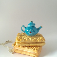 Tiny Teapot Necklace - Cute Miniature Teapot -Tea Pot Jewelry - Cute Novelty