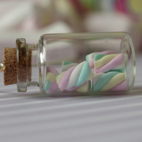 Glass Bottle Necklace with Tiny Handmade Flump Marshmallow Sweeties