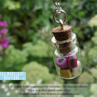 Tiny Miniature Glass Jar necklace with Allsorts - Sweeties in a Bottle!