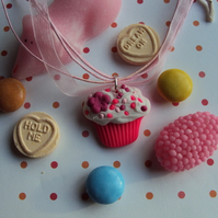 Hot pink flower cupcake necklace