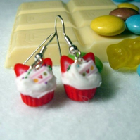 Tiny strawberry cupcake earrings