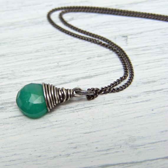 Sterling silver wire wrapped green onyx briolette necklace