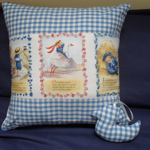 Nursery Rhyme Cushion Boys Blue Gingham Gift