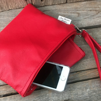Red leather clutch bag with detachable handle,clutch, leather purse, red leather