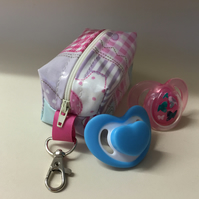 Dummy case,soother case,pacifier holder,Handmade in pink elephant oilcloth