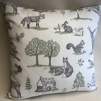 Woodland cushion covers, bed pillows, scatter cushions, woodland foxes cotton fa