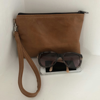 Tan leather clutch bag with detachable handle,clutch, leather purse, tan leather
