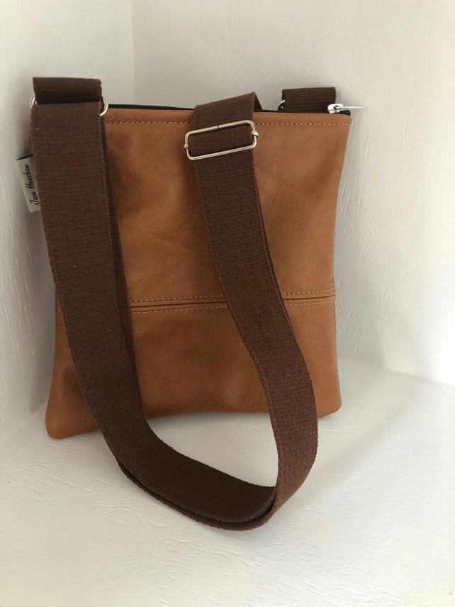 Tan leather messenger bag, leather crossbody bag, festival bag, tan leather bag.