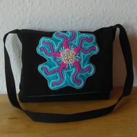 Black Handbag With Turquoise and Pink Embroidered Flower