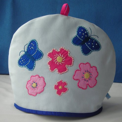 Sale - Butterfly and Flower Light Blue Tea Cosy