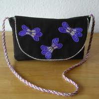 Sale - Black Handbag with Violet Flower Applique