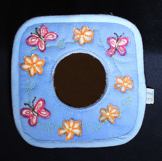 SALE - Butterfly Handbag Mirror in Pale Blue