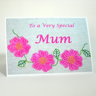 Pink Rose Mothers Day Card