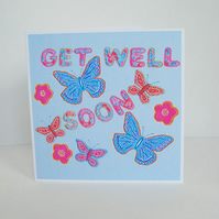Butterfly Get Well Soon Card in Pale Blue