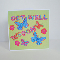 Butterflies Get Well Card in Green