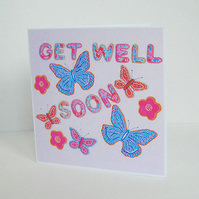 Butterfly Get Well Soon Card in Pale Pink