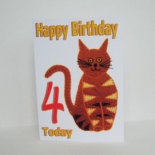 Stripey Cat Birthday card