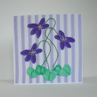 Violet Flowers Greetings Card